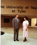 President Stewart and an Unidentified Individual in front of the University of Texas at Tyler Administration Building by University of Texas at Tyler
