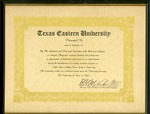 Award of Appreciation Texas Eastern University by Archives Account